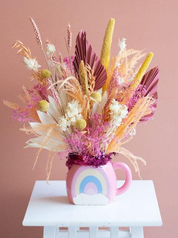 Coral Rainbow, centro de flores secas y preservadas | Loreak