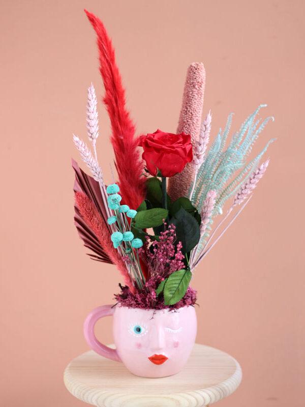 Rose affair - Rosa preservada en taza de diseño